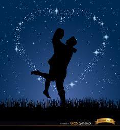 Couple Love Night Stars Background Free Vector