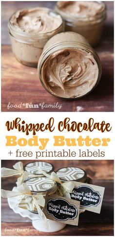 Whipped chocolate body butter recipe with free printable labels for gifting!