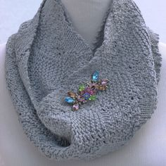 Hand knit infinity scarf made recycled jeans by ThisSeamsGood, $35.00