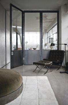 Porte métallique - verrière loft industriel #Metallic #door