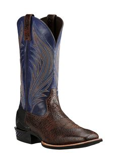 Ariat Men's Brown with Blue Upper Western Square Toe Boots | Cavender's