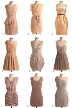 Earth and peach bridesmaids dresses, different dresses, but they all work together