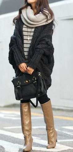 Striped pullover, oversized dark grey batwing cardigan, leggings, knee high shiny boots, ribbed oversized cowl, black handbag. c4d98b39911a39f48b8f6f9b5c06b944.jpg 287×599 pixels