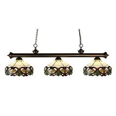 Check out the Z-Lite 200-3OB-Z14-33 Riviera 3 Light Billiard in Olde Bronze with Tiffany Shade