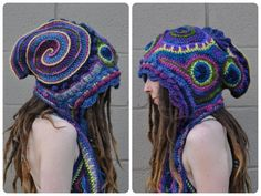 Peacock Freeform Crochet Hooded Scarf // Ooak Fiber Art by OfMars