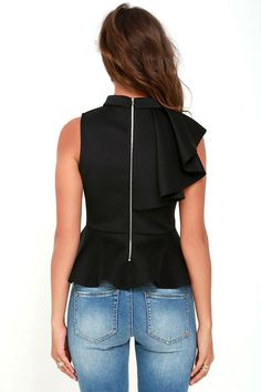 It's incredible how unforgettable you will be in the Forever More Black Peplum Top! Poly-spandex, medium weight knit forms a sleeveless peplum top with ruffle. Clubwear Tops, Black Peplum, Thrift Fashion, Pretty Black, Junior Outfits, Blouses For Women, Fashion Outfits, Fashion 2017, Mock Neck