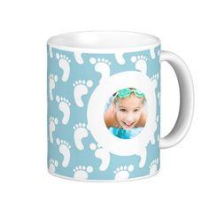 Baby Boy Footprint Custom Photo Coffee Mug more beautiful customized photo mugs with your image at www.mouseandmarker.com