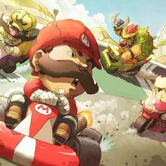 On instagram by redbeardicus #nes #microhobbit (o) http://ift.tt/1NaH3Gu how awesome would it be if there was a #SuperMario #Kart #Anime like this?! #Nintendo #NES #SNES #N64 #MarioKart ##Bowser #PrincessPeach #Wario