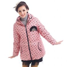 Fashion 2013 New Ladies Style Pink Dots Hooded Coat Jacket