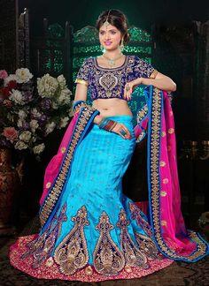 Blue Bhagalpuri Silk Lehenga Choli