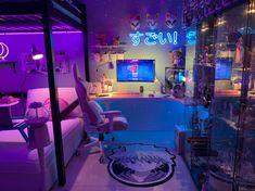 Bedroom Setup, Room Design Bedroom, Room Ideas Bedroom, Cute Room Ideas, Cute Room Decor, Gaming Room Setup, Computer Gaming Room, Pc Setup, Neon Room