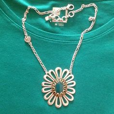 "~HOST PICK***Flower Power Necklace! In box with tags. Reversible to silver floral side. Semi precious accents.  18"" adjustable chain. Lucky Brand Jewelry Necklaces"