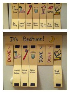 "My own DIY magnetic ""chore"" flip chart. - My own DIY magnetic ""chore"" flip chart. Kids Routine Chart, Kids Schedule Chart, Daily Schedule Kids, Schedule Board, Routine Printable, Printable Chore Chart, Diy For Kids, Crafts For Kids, Family Crafts"