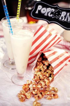 Salted Caramel Popcorn with a Malted Shake! Ultimate movie night food.