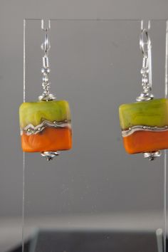 Square Lampwork Beads on Sterling Silver Earwires