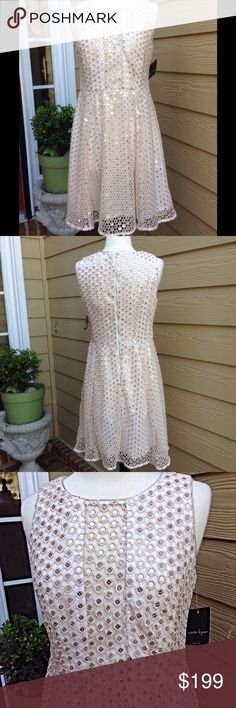 "Nanette Lepore Shimmer And Shine Ivory Dress Perfect for a holiday party. Bought it for Poshfest and never wore it. Fully lined, fit and flare, bust is 35, waist is 30"" and length from underarm is 28"", it's a beautiful dress! Nanette Lepore Dresses"