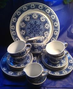 Beautiful set of Arabia Finland, Ali, in blue