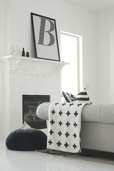 black & white mantel