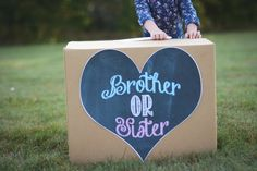 Gender reveal box brother or sister printable pink or blue heart chalkboard file sign
