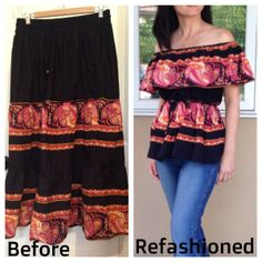 Refashioned and Upcycled $4 Thirfted Skirt into Off the Shoulder Shirt - Before and After