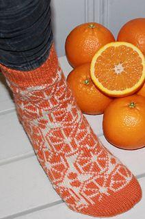 Ravelry: Citrus Socks pattern by Aud Bergo Crochet Socks, Knit Or Crochet, Knitting Socks, Hand Knitting, Knitted Hats, Knitting Patterns, Knitting Ideas, Lots Of Socks, Orange Socks