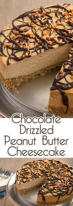 Rich, thick, and silky – this Chocolate Drizzled Peanut Butter Cheesecake is packed with peanut butter flavor.