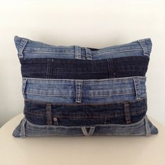 Statement cushion made from up-cycled denim jeans, the perfect accessory or gift.