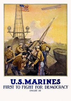 WWI Poster U.S. Marines First Fight For Democ