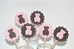 Teddy Bear Cupcake Toppers-Teddy bear Baby Shower-Teddy Bear Invitation-Teddy Bear Birthday Party-Teddy bear Party Decor on Etsy, $6.25