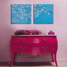 """Original Acrylic Painting 32"""" Blooming Cherry Tree Landscape Painting, Modern Abstract Tree Painting Cherry Blossom  2 Canvas Blue Wall Art on Etsy, $115.00"""