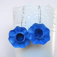 Long Blue Paper Flowers Earrings, Statement Earrings, Paper Jewelry, Maxi Earrings, Gift Ideas, Contemporary Earrings Floral style. Handmade, Made in Italy New ! Incredible, vibrant colors, pure energy for these new model . Paper Flowers Statement Earrings. Hand painted ,
