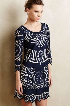 Kerala Embroidered Shift dress ;Anthropologie