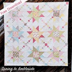 Spring In Ambleside Quilt - Fort Worth Fabric Studio - Lindsey Weight Star Quilt Patterns, Star Quilts, Scrappy Quilts, Easy Quilts, Kid Quilts, Girls Quilts, Quilting Tutorials, Quilting Projects, Quilting Ideas