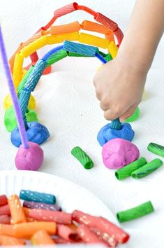 Fine Motor Activities with Rainbow Pasta and Playdough - repinned by @PediaStaff – Please Visit  ht.ly/63sNt for all our pediatric therapy pins
