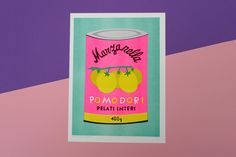 A bigger riso graph print of a can of pomodori Food Packaging Design, Packaging Design Inspiration, Envoyer Des Messages, Signs, Textile Prints, Graphic Tees, Handmade, Riso Printing, Illustrations