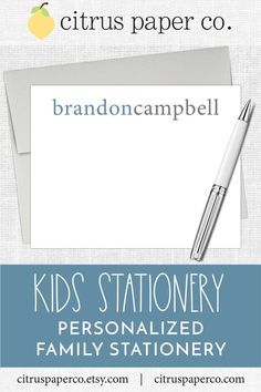 Personalized stationery, just for kids! Each set of flat note cards is printed on high-quality white cardstock, includes your choice of envelopes, and is packaged in a crystal clear box. Perfect for casual correspondence or thank you notes, these note cards make the perfect gift!