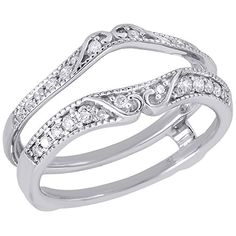 14K White Gold Round Cut Diamond Solitaire Engagement Ring Antique Style Enhancer 0.25 Cttw * Additional details @
