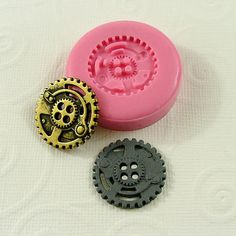 Steampunk Gear Button Flexible Silicone Mold $5