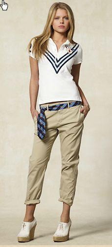 camisa pólo e bermudas Rugby Ralph Lauren Polo Shirt Outfits, Polo Shirt Women, Polo T Shirts, Preppy Mode, Preppy Style, Rugby, Womens Fashion For Work, Look Fashion, Ralph Lauren