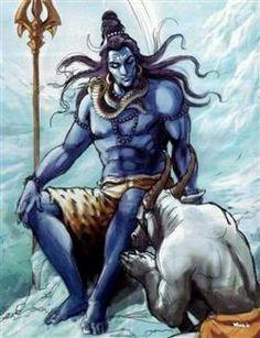 Loard Shiva With Nandi - Amezing Image Blue Dark Oil Paintings Photo Art