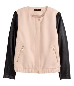 Pink moto jacket with faux leather sleeves. | H&M Pastels
