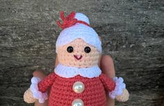 Crocheted Mrs. Santa Claus   Cute Mrs. Santa Claus will be a wonderful decoration for your home for Christmas and New Year.  Height crocheted Mrs. Santa Claus 12 cm ( 4.72 )  Down the diameter of the toy 5.5 cm ( 1.97 )    Stuffing material: Holofiber (hypoallergenic) This toy is created in a house in which no smoking and no pets!   Standard international shipping takes up to 20 business days.  Normal delivery time out from Ukraine takes about:  U.S. - 14-30 days U.K. - 7-15 days Canada…