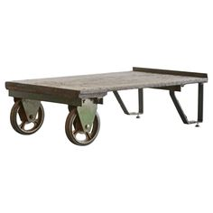 Vintage Industrial Cart/ Coffee Table   From a unique collection of antique and modern coffee and cocktail tables at https://www.1stdibs.com/furniture/tables/coffee-tables-cocktail-tables/