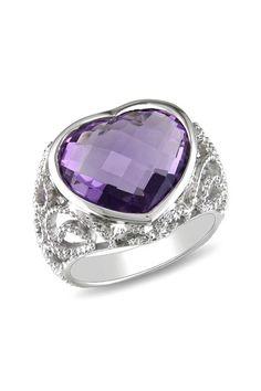Purple Amethyst Heart Ring