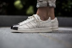 tint-footwear:  adidas Originals Superstar 80s Metal Toe W www.tint-footwear.com   /// Find more adidas sneakers, here.