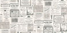 Memories (PA5657) - Brewers Wallpapers - Old fashioned newspaper adverts in black and white on weathered background. Pre-pasted. Please ask for sample for true colour match.