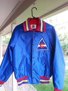 3fa6e078f96 Vintage Colorado Rockies Hockey NHL Starter Satin Nylon Jacket Coat L Large  Mint