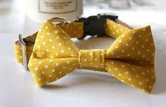 Canvas Cotton Linen Mustard Yellow Polka Dot Bow by Miasclosetshop