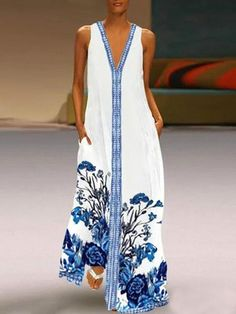 Vintage V Neck Daily Floral Printed Holiday Chic Maxi Dresses – narachic Casual Dresses, Summer Dresses, Maxi Dresses, Sleeveless Dresses, Vacation Dresses, Party Dresses, Jumpsuit With Sleeves, V Neck Dress, Fashion Prints