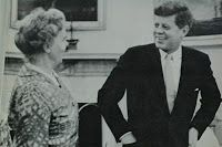 In 1961 Dr. Janet Travell became the 1st woman to serve as White House physician when John F. Kennedy (near left), sworn in as President just a few days earlier, named her his personal physician. Travell (far left) had earned degrees from Wellesley and Cornell, and was a professor of clinical pharmacology at Cornell. She'd been the pain-management physician for Kennedy, who suffered from severe back problems, since 1955.